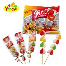 Halal Sweet Fruity Heart Sugar Coated Soft Jelly Lollipop