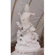 Piedra Mármol Buddha Kwan Yin para la estatua de Feng Shui (SY-T021)