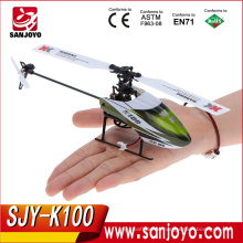 Top sale rc XK 2.4GHz 6CH 3D 6G System in green color RC Helicopter Airplane RTF with transmitter SJY-K100 VS K110