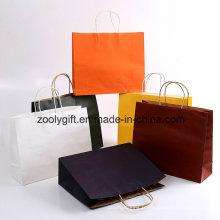 Sac de papier Kraft blanc bon marché / sac de transport de papier promotionnel