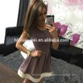2017 in stock New summer multi-color stitching short-sleeved short skirt dress women ladies