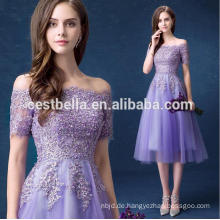 Hotsale süße lila Brautjungfer Kleid Off-Schulter Chiffon Fee Prom Kleider