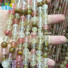 Cuentas de piedras preciosas de zirconia cúbica de cuarzo natural mezcla de cereza para la pulsera