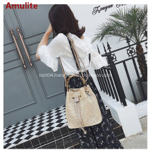 Summer new fashion bamboo handle bucket straw bag