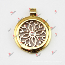 35mm Stainless Steel Gold Coin Lockets Pendant for Necklace (SSL50925)
