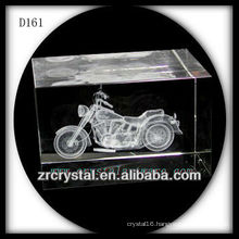 K9 3D Laser Subsurface Motorcycle Inside Crystal Rectangle