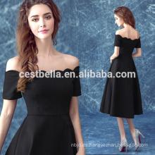 2016 negro de la alta calidad de la venta al por mayor de la manera de la mujer negra de la manera negro elegante del vestido del baile de fin de curso del partido
