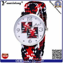 Yxl-206 artesanal amizade relógio Ladies Geneva tecido pulseira de relógio de moda de quartzo relógios casuais homens