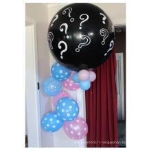 Baby Shower Decorations Party Neutral Party 36 pouces Ballons Canons avec des confettis roses et bleus et multicolores