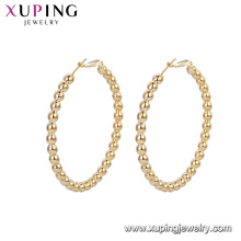 93135 Wholesale elegant ladies jewelry fancy type Korean design beads gold hoop earrings