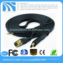 Kuyia plaqué or HDMI aux câbles VGA avec prise audio et audio 1080P pour DHTV XBOX PS3