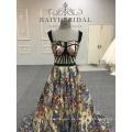 Sexy Black Flower Fish Cut Applizierte lange Abendkleider Alibaba Lace Abendkleid
