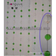Cortina de miçangas de cristal janela Oval verde decorativo impermeável