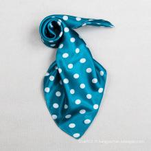 Polyester Couleur Bleu DOT Petite Echarpe Carrée