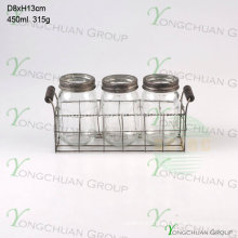 Set of 3 PCS Glass Mason Jar with Metal Stand Flatware Stand
