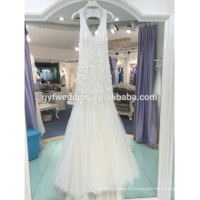Gorgeous French lace real sample deep V neck neck sexy lace lace mermaid wedding dress LJ-10013