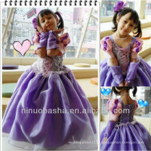 Oversleeve Ball Gown Purple Floor Length Lace Up Closure Short Sleeve Scoop Flower Girl Dress Vestido de casamento