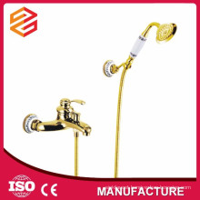 bath wall mounted gold plated bathroom faucet