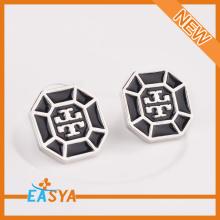 New Arrival Black Enamel Silver Octagonal Stud Earring