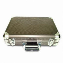 Laptop Case with Brown Aluminum Sheet Surface, Two Metal Key Locks and Black Nylon Cloth Lining