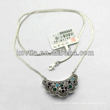 Женщины антикварные блокировки кулон ювелирные изделия 925 стерлингового серебра ожерелье