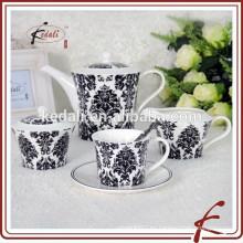Venta caliente de cerámica negro de vajilla de café y té para el hogar