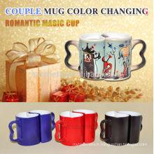 Tasse de couple de sublimation, tasse en céramique de couple, tasse changeante de couleur magique