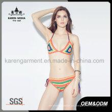 Summer Festival Hippie Beach Clothes Crochet Halter Bikini traje de baño