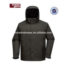 Cortavientos negro liso cortavientos a prueba de agua deportes chaqueta de los hombres