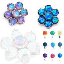 Hochglanzpoliertes Titan G23 Körperschmuck Opal Blume Microdermal Piercing Dermal Top