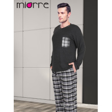 Miorre Wholesale Men's Long Sleeve Soft Texture Plaid Pattern Pajamas Set