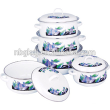 Enamelware pinnacle casserole set with double handle for food warm