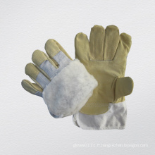 Gant de travail d'hiver doublé de pile de cuir de grain de porc de porc
