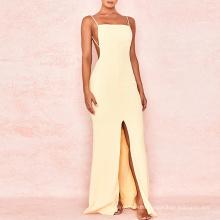 Lemon Backless Maxi Romantic Cut Out Wrap Tube Sexy Evening Dress