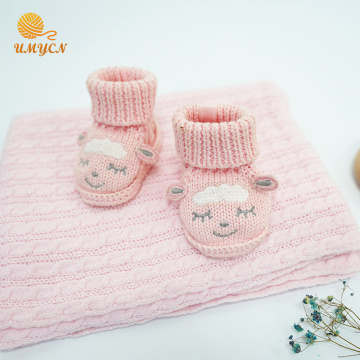 100% Cotton Pink Crochet Baby Girls Shoes