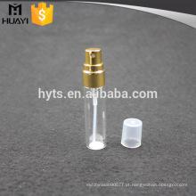 Frascos de vidro da amostra de perfume 5ml com pulverizador e o tampão de parafuso de alumínio