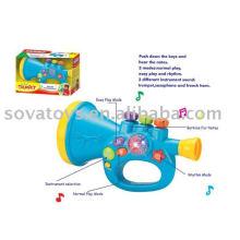 Multi-função cartoon brinquedo plástico trompete para crianças