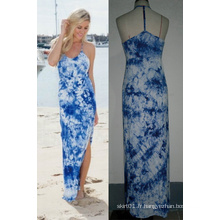 T-Back Tie Dye Femmes Mode Long Beach Maxi Dress