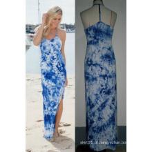 T-Back Tie Dye Mulheres Moda Long Beach Maxi Dress