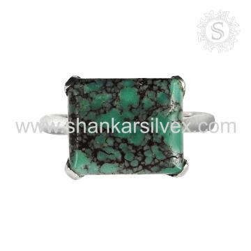Boda de joyería de anillo de la piedra preciosa de la turquesa fina hecha a mano 925 joyas de anillo de plata esterlina exportador