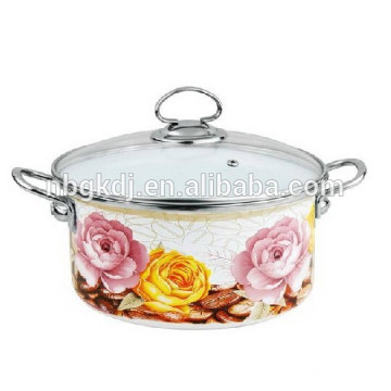 enamel cookware set with full decal& SS knob/glass lid