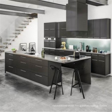 Black shaker style ready made solid wood kitchen cabinets with sink