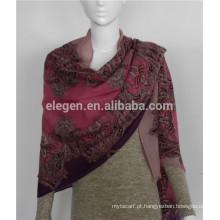 Lã mercerizada lã rosa lenços tingidos xale roubou