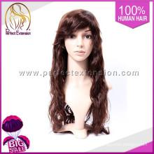Produtos quentes de perucas completas dos homens do laço do cabelo longo de India
