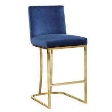 Modern Gold Metal Velvet Counter bar stools with back