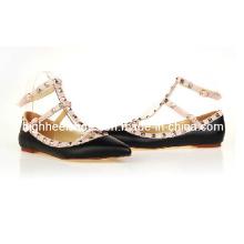 2016 venda quente de pele de cordeiro sapatos de vestido liso (hcy02-415)