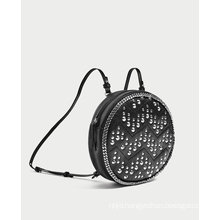 Round Leather Backpack in Black with Studs