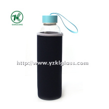 Glass Bottle with Neoprene Fabrication Oversleeve Stainless Steel Lid, , .
