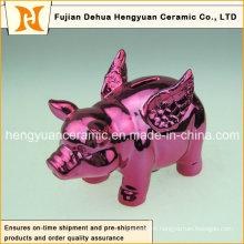 Lovely Pink Ceramic Pig Piggy Bank for Home Decoration