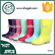 Moda de fundo chato de botas de chuva de PVC mulher sapatos de senhoras B-818
